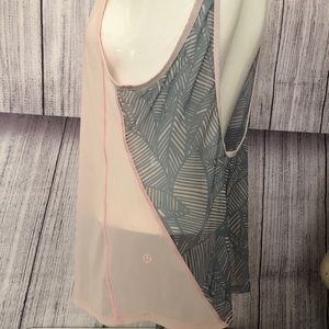 Lululemon pink and gray open back tank top EUC